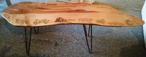 signed beech coffee table with hairpin legs